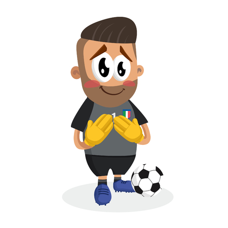 Italy national football team mascot and background ashamed pose with flat design style for your logo or mascot branding