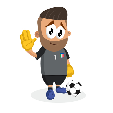 Italy national football team mascot and background goodbye pose with flat design style for your icon or mascot branding.