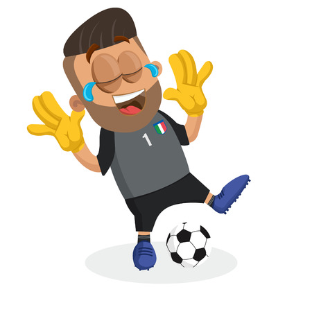 Italy national football team mascot and background Happy pose with flat design style for your icon or mascot branding.