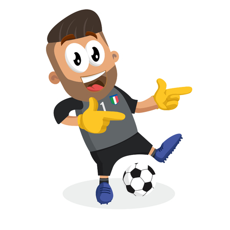 Italy national football team mascot and background Hi pose with flat design style for your icon or mascot branding.