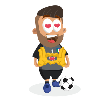 Italy national football team mascot and background in love pose with flat design style for your icon or mascot branding. Illusztráció