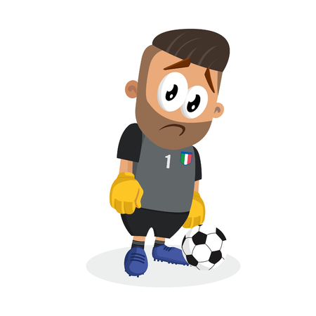 Italy national football team mascot and background sad pose with flat design style for your icon or mascot branding. Ilustracja