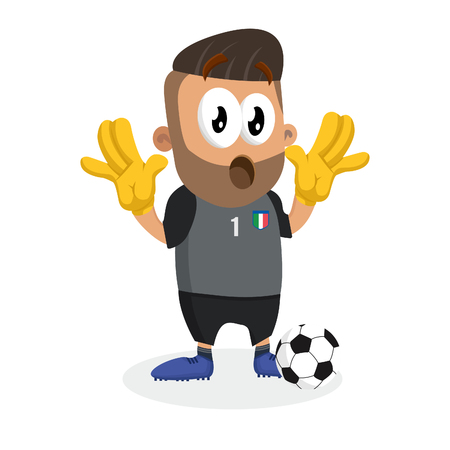 Italy national football team mascot and background surprise pose with flat design style for your icon or mascot branding.