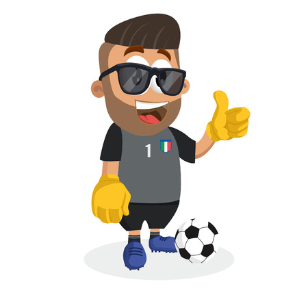 Italy national football team mascot and background thumb pose with flat design style for your icon or mascot branding.