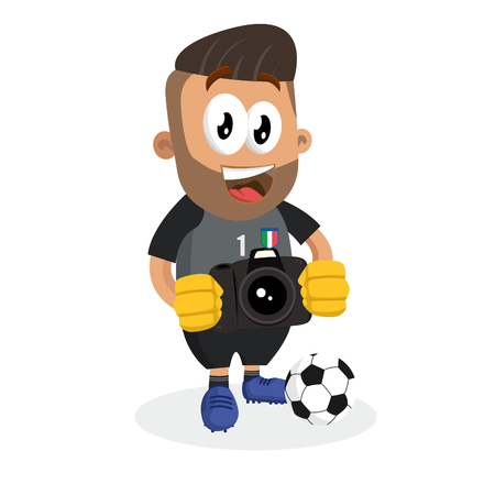 Italy national football team mascot and background with camera pose with flat design style for your icon or mascot branding.