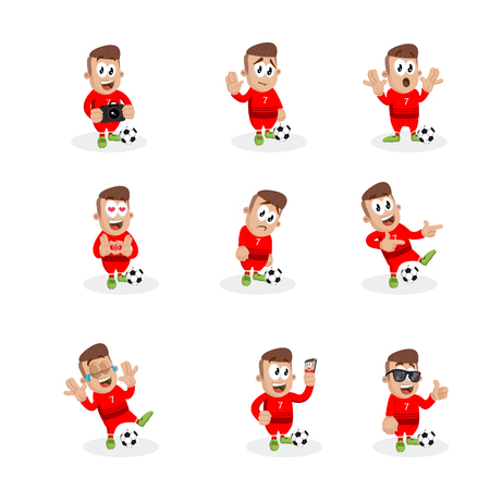 All set Portugal national football team mascot and background with flat design style for your icon or mascot branding. 일러스트