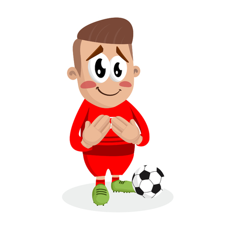 Portugal national football team mascot and background ashamed pose with flat design style for your icon or mascot branding. Illusztráció