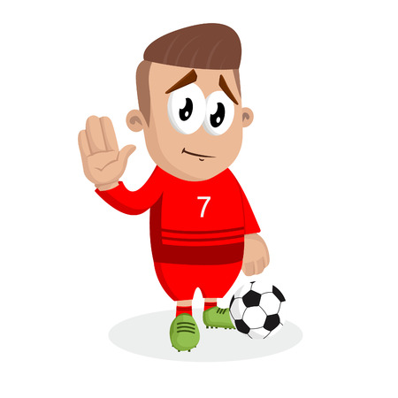 Portugal national football team mascot and background goodbye pose with flat design style for your icon or mascot branding. Illustration