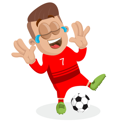Portugal national football team mascot and background happy pose with flat design style for your icon or mascot branding. Illusztráció