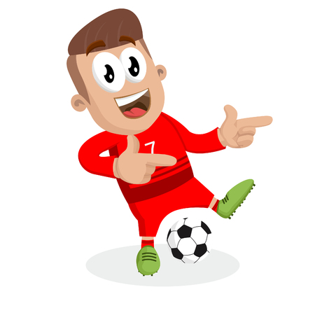 Portugal national football team mascot and background Hi pose with flat design style for your icon or mascot branding. Illusztráció