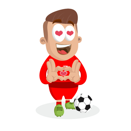 Portugal national football team mascot and background in love pose with flat design style for your icon or mascot branding.