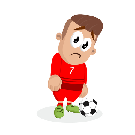 Portugal national football team mascot and background sad pose with flat design style for your icon or mascot branding.