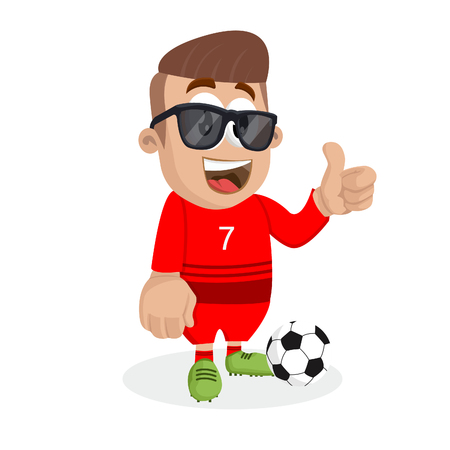 Portugal national football team mascot and background thumb pose with flat design style for your icon or mascot branding.