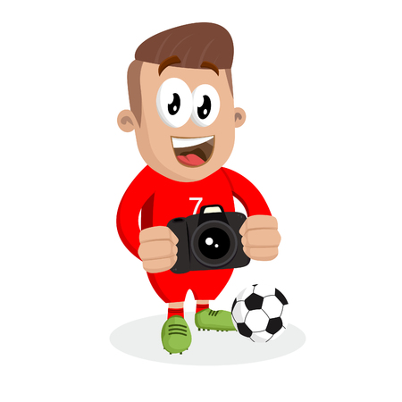 Portugal national football team mascot and background with camera pose with flat design style for your icon or mascot branding.