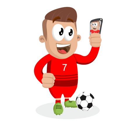 Portugal national football team mascot and background selfie pose with flat design style for your icon or mascot branding. Illusztráció