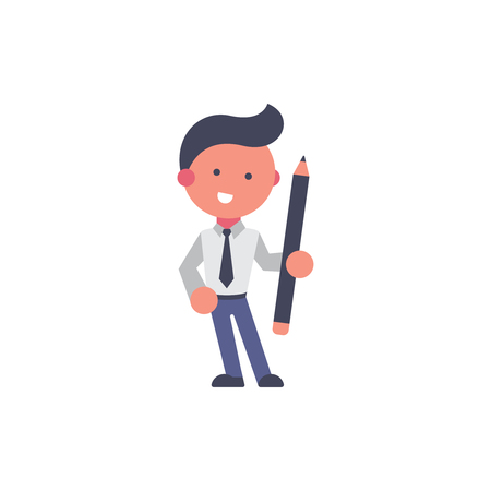 Worker flat and background pencil pose with flat design style for your logo or mascot branding