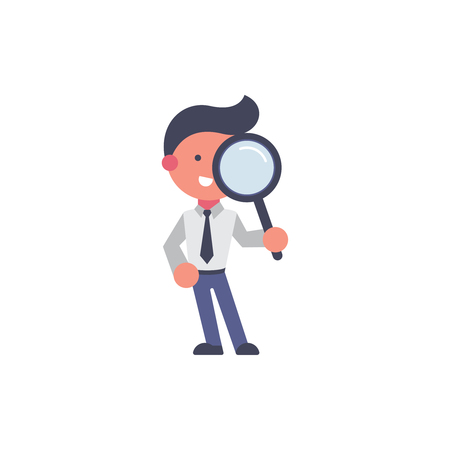 Worker flat and background search pose with flat design style for your logo or mascot branding
