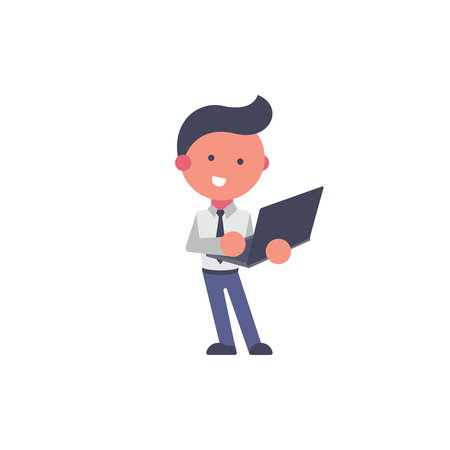 Worker flat and background laptop pose with flat design style for your logo or mascot branding