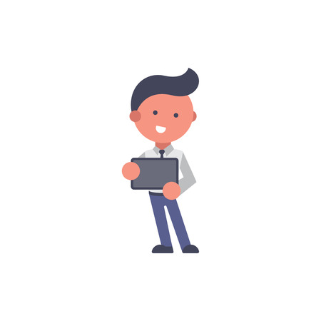 Worker flat and background explain pose with flat design style for your logo or mascot branding Illusztráció