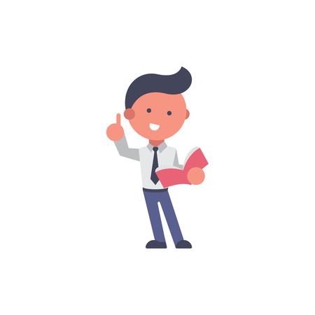 Worker flat and background read a book pose with flat design style for your logo or mascot branding