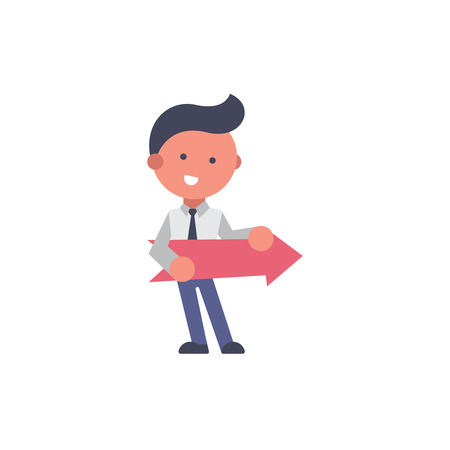 Worker flat and background go pose with flat design style for your logo or mascot branding