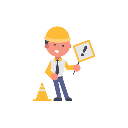 Worker flat and background maintenance pose with flat design style for your logo or mascot branding Illusztráció