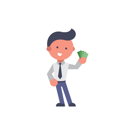 Worker flat and background payday pose with flat design style for your logo or mascot branding Illusztráció