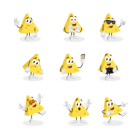 All set Cheese mascot and background with flat design style for your logo or mascot branding
