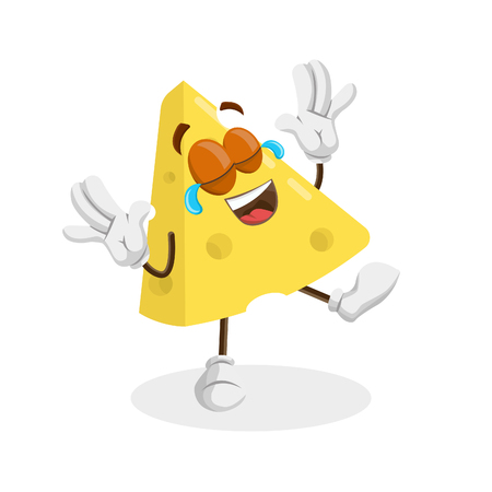 Cheese mascot and background happy pose with flat design style for your logo or mascot branding