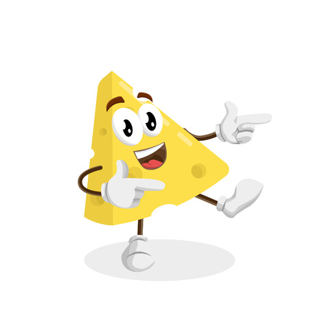 Cheese mascot and background Hi pose with flat design style for your logo or mascot branding