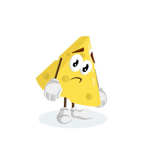Cheese mascot and background sad pose with flat design style for your logo or mascot branding Illusztráció
