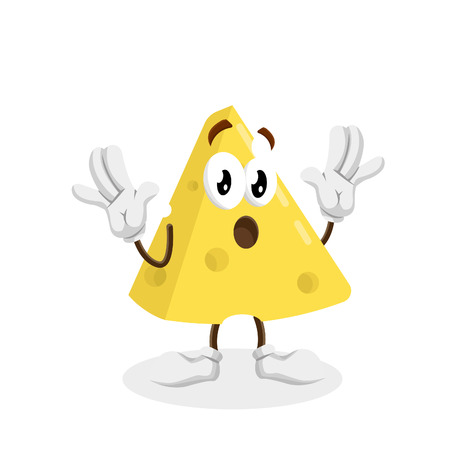 Cheese mascot and background surprise pose with flat design style for your logo or mascot branding
