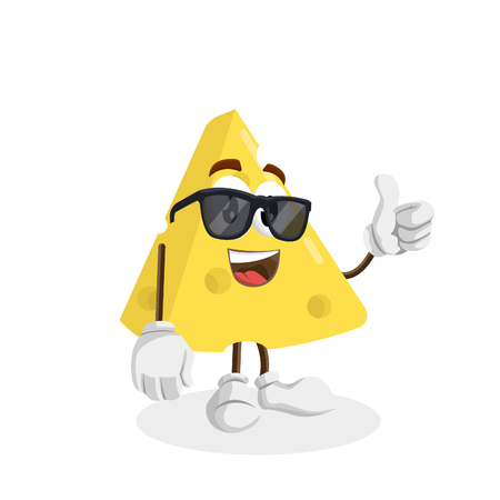 Cheese mascot and background thumb pose with flat design style for your logo or mascot branding Illusztráció