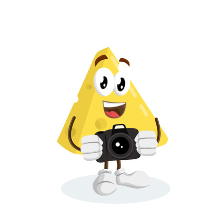 Cheese mascot and background with camera pose with flat design style for your logo or mascot branding