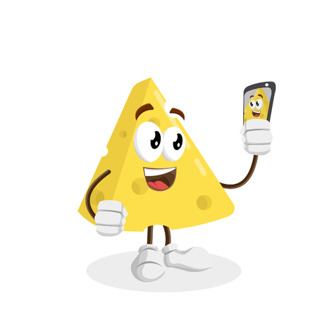 Cheese mascot and background with selfie pose with flat design style for your logo or mascot branding
