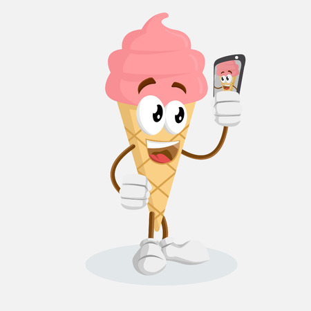 Ice cream cone pink mascot and background with selfie pose with flat design style Illusztráció