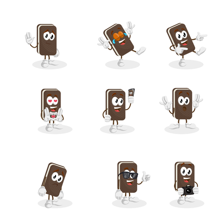 All set Ice cream sandwich mascot and background with flat design style for your logo or mascot branding Illusztráció