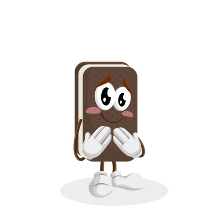 Ice cream sandwich mascot and background ashamed pose with flat design style for your logo or mascot branding Illustration