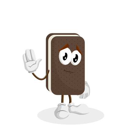 Ice cream sandwich mascot and background goodbye pose with flat design style for your logo or mascot branding Illusztráció