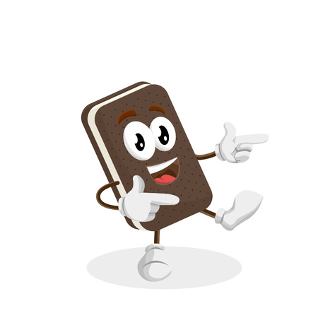 Ice cream sandwich mascot and background Hi pose with flat design style for your logo or mascot branding Illusztráció