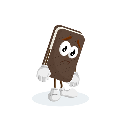 Ice cream sandwich mascot and background sad pose with flat design style for your logo or mascot branding