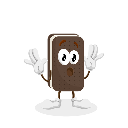 Ice cream sandwich mascot and background surprise pose with flat design style for your logo or mascot branding Illusztráció