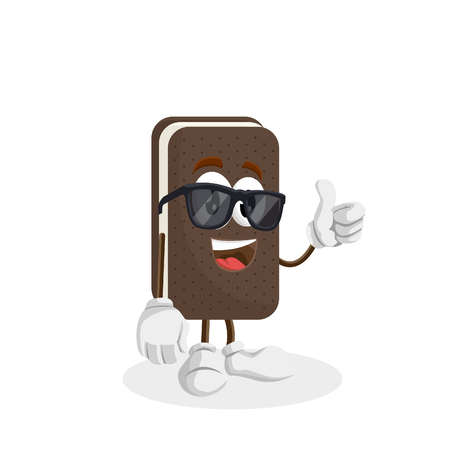 Ice cream sandwich mascot and background thumb pose with flat design style for your logo or mascot branding