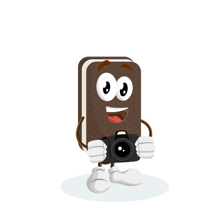 Ice cream sandwich mascot and background with camera pose with flat design style for your logo or mascot branding Illusztráció