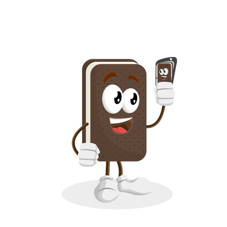 Ice cream sandwich mascot and background with selfie pose with flat design style for your logo or mascot branding