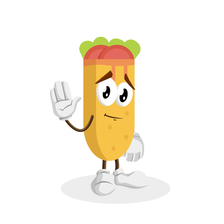 Kebab mascot and background goodbye pose with flat design style for your logo or mascot branding