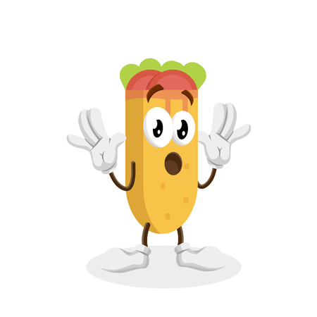 Kebab mascot and background surprise pose with flat design style for your logo or mascot branding