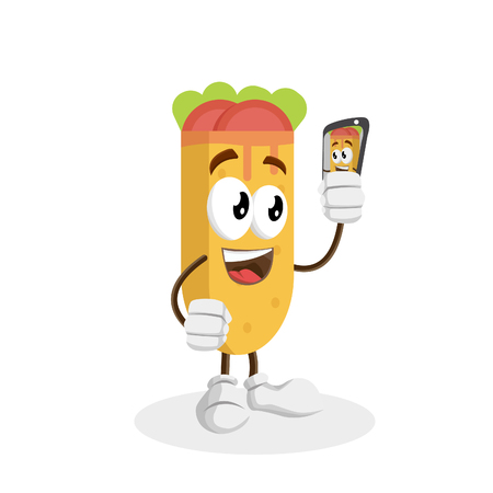 Kebab mascot and background with selfie pose with flat design style for your logo or mascot branding