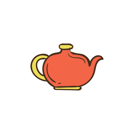 Teapot icon and background with flat design style for your logo or mascot branding