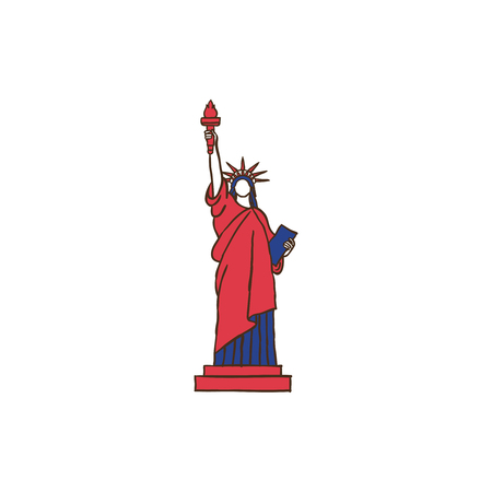 Liberty icon and background with flat design style for your logo or mascot branding Illusztráció